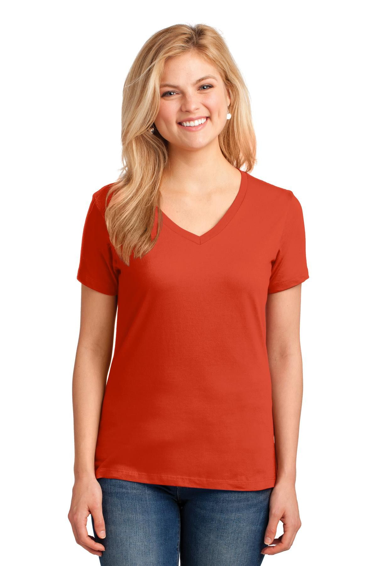 db43b67ccfc30 Port   Company Ladies 5.4-oz 100% Cotton V-Neck T-Shirt. LPC54V Orange