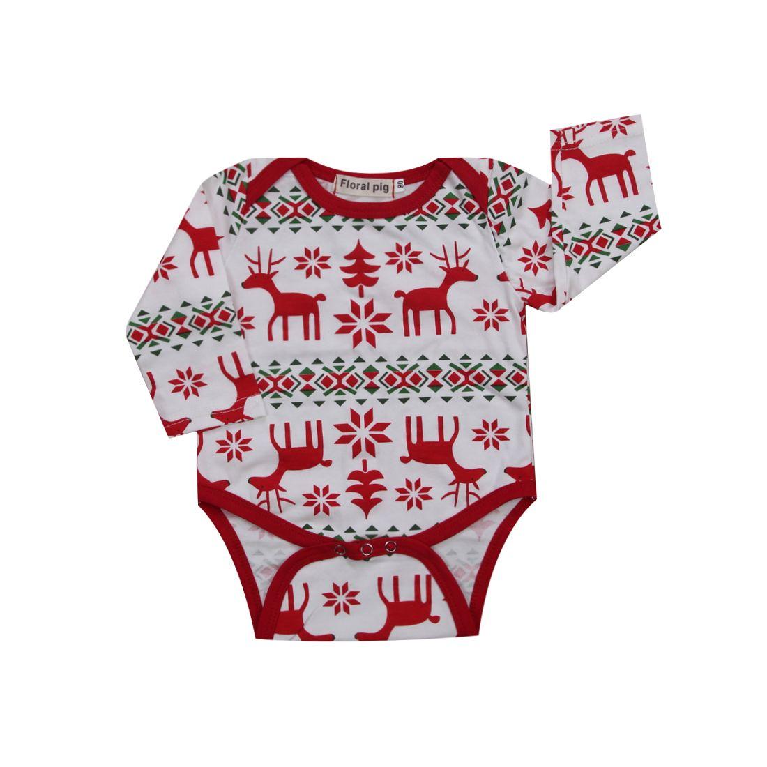 Hot Cute Xmas Toddler Infant Baby Kid Bodysuit Long Sleeve Deer