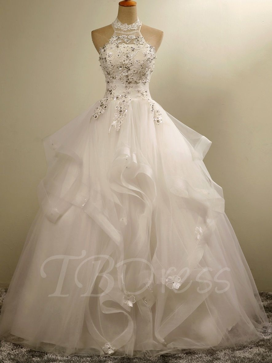 eeb2064b851a Tbdress.com offers high quality Halter Neck Lace-Up Ball Gown Floor-Length  Beaded Lace Wedding Dress Ball Gown Wedding Dresses unit price of $ 187.14.