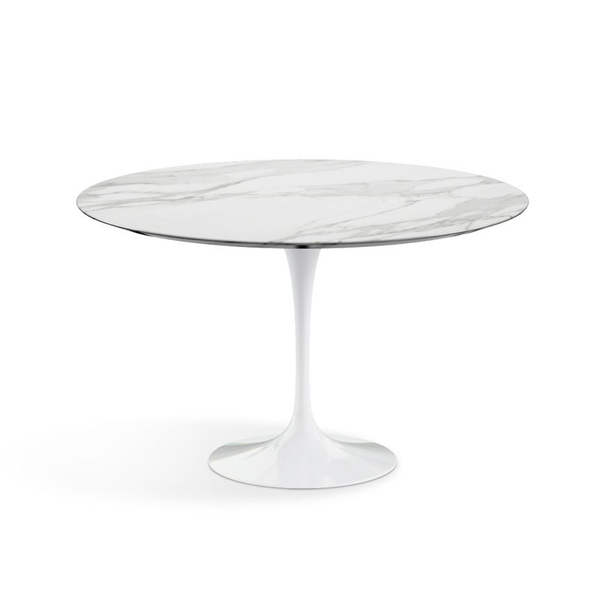 Saarinen Dining Table 47 Round White Base W Carrara Marble