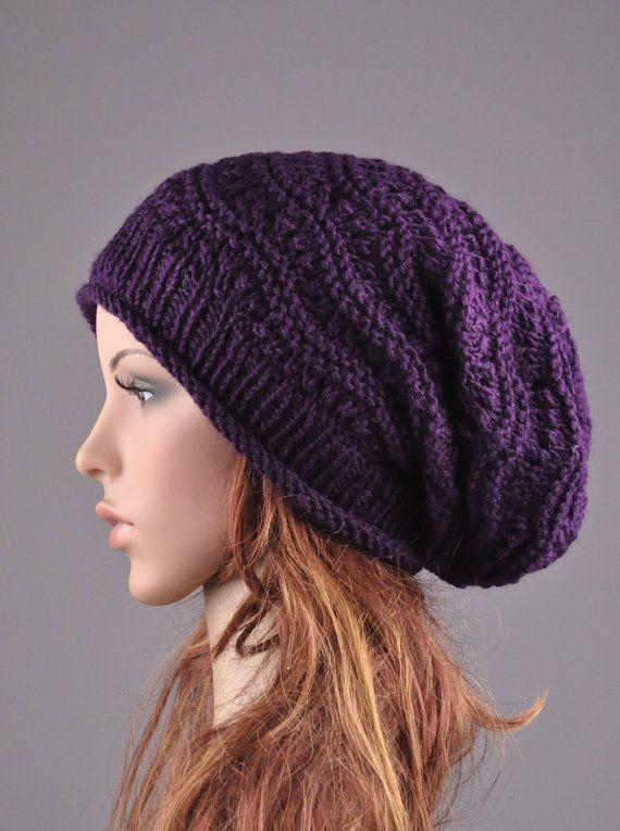 1d54cccea Hand knit hat Deep purple Chunky Hat weaving pattern slouchy hat ...