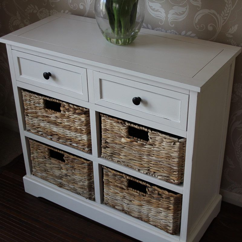 Cau Range Ivory Wicker Storage Unit Two Drawer Four Baskets