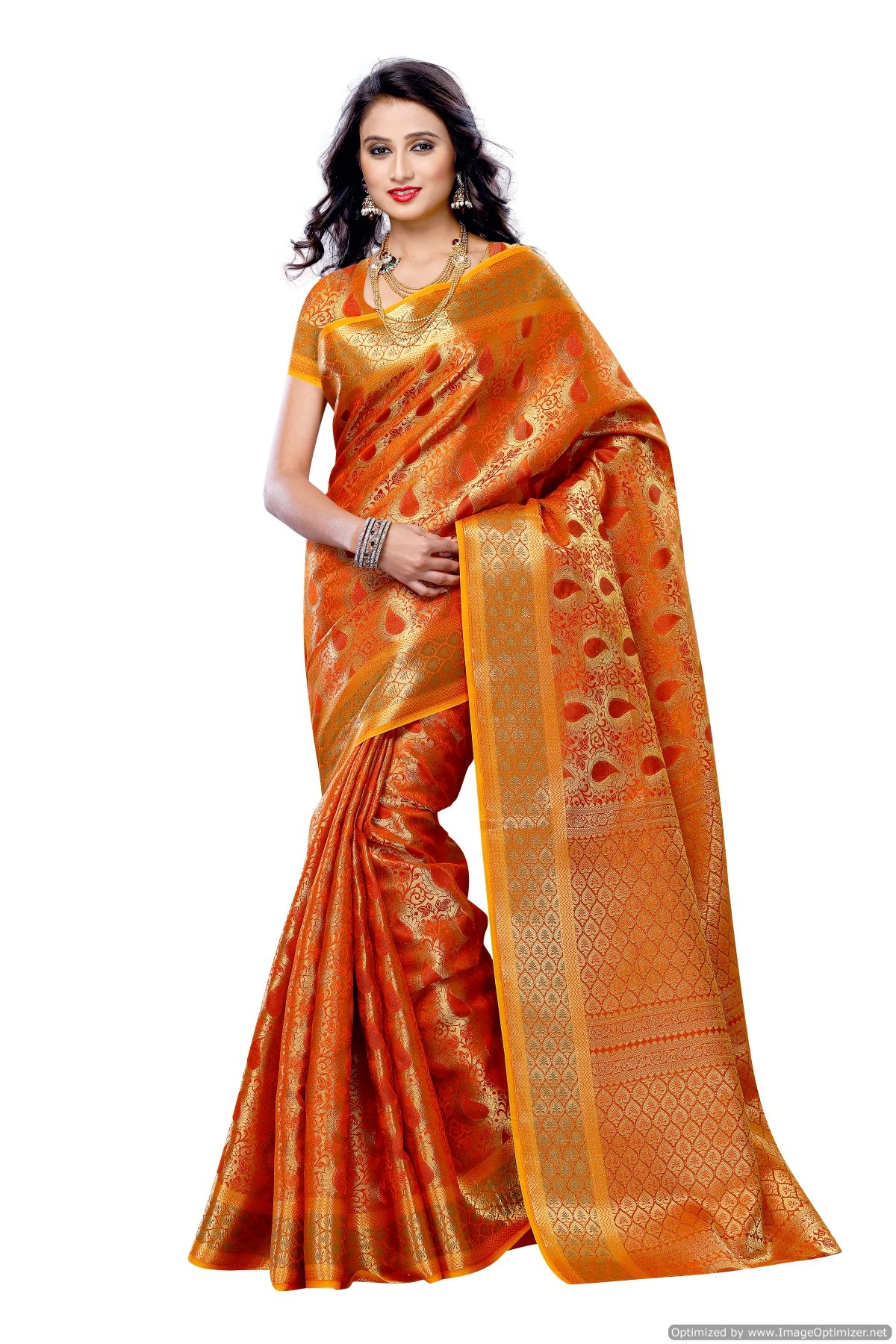 e12bcc93be Mimosa Women\'s Art Kanchipuram Silk Saree With Blouse,color :orange(3190-164-org)