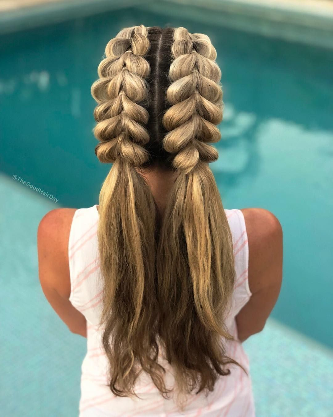 Double Pancaked Pull Through Braids Into Ponytails Hair Styles Cute Hairstyles Two Ponytails