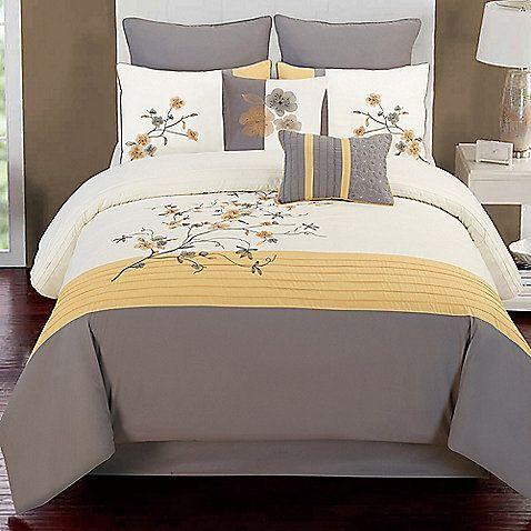 Camisha 8 Piece Comforter Set In Yellow Grey Comforters Yellow