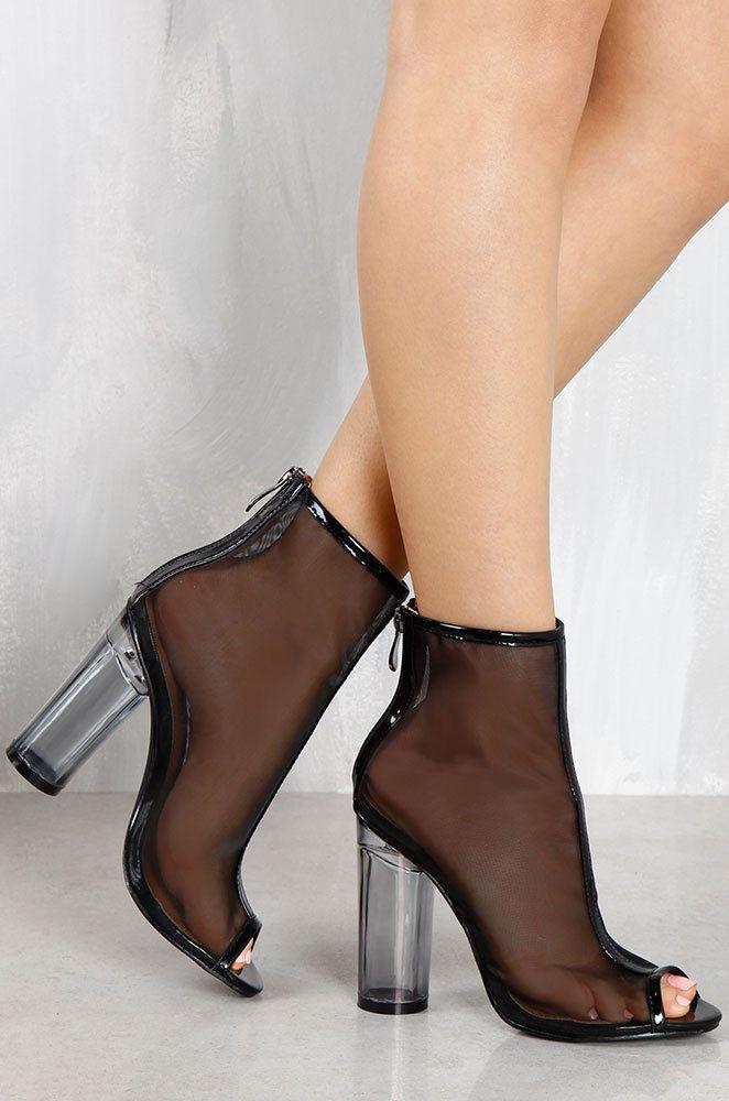 4a5c99dc417 Clear Transparent Mesh Perspex Lucite Heel Peep Toe Block Heel Booties -  Black