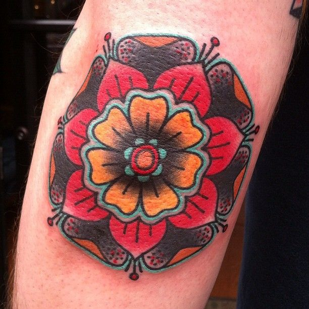 Tudor Rose Mandala Tattoo