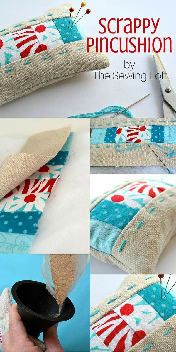 Grab your scraps!! This diy scrappy pincushion pattern is perfect for smaller pieces of leftover fabrics. Step by step instructions make this tutorial an easy project for even a beginner to stitch at home.