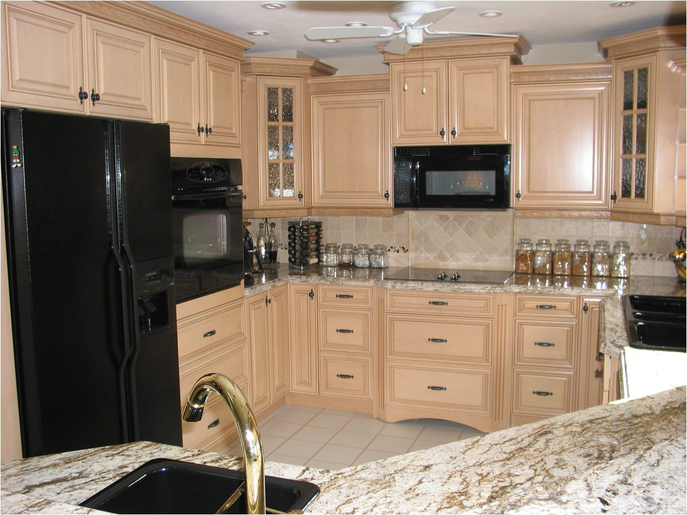 maple kitchen cabinets with black appliances. Wonderful Maple Cabinets Kitchen Black Appliances Glazed And From Design With H