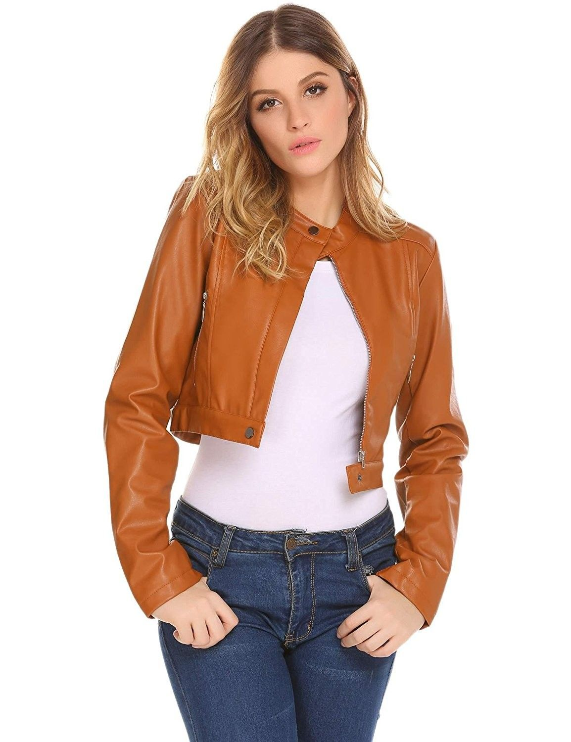 Women/'s Faux Leather Jacket New Motorcycle Leisure Zipper Stand Collar Outwear D