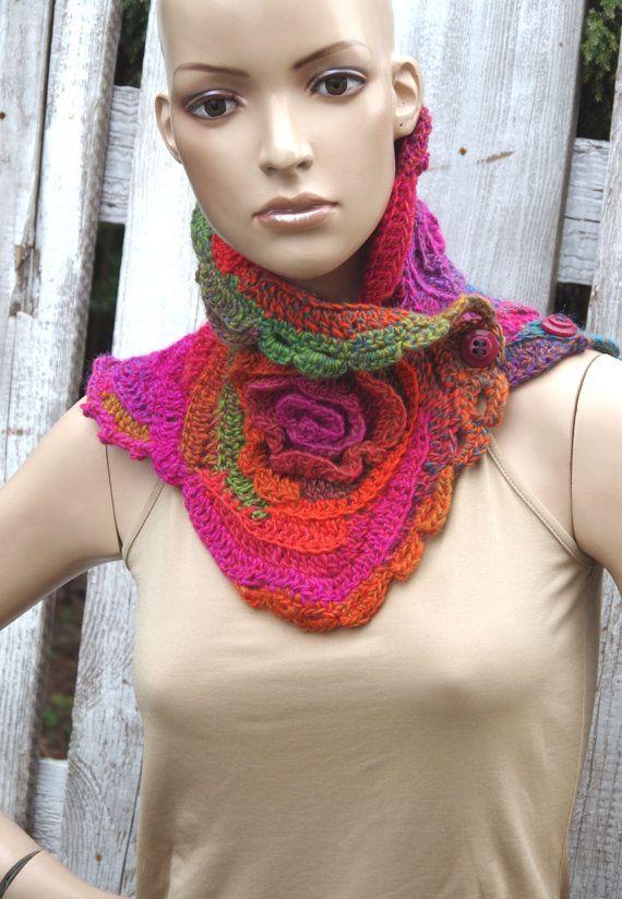 Crochet scarf Freeform crochet freeform roses Button Scarf Capelet ...
