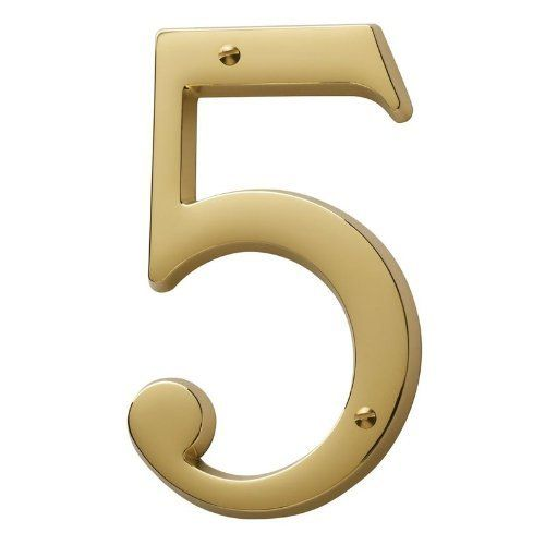 Baldwin 90675003 Lifetime Polished Brass House Number Solid Brass Residential House Number 5 By Baldwin House Numbers Traditional House Numbers Polished Brass