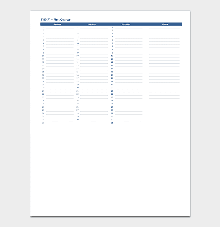 Yearly Calendar With Room For Notes Calendar Templates 75