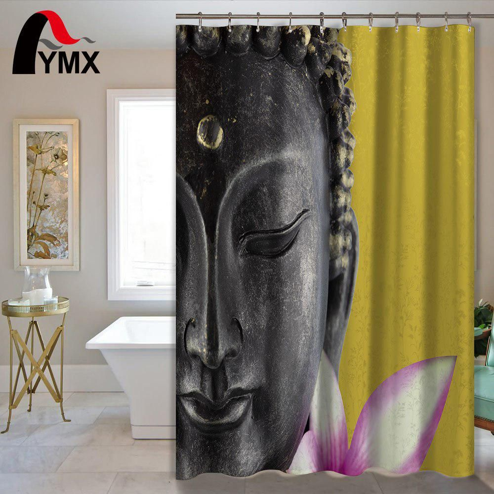 Buddha Statue Waterproof Shower Curtain Bathroom Curtain Polyester