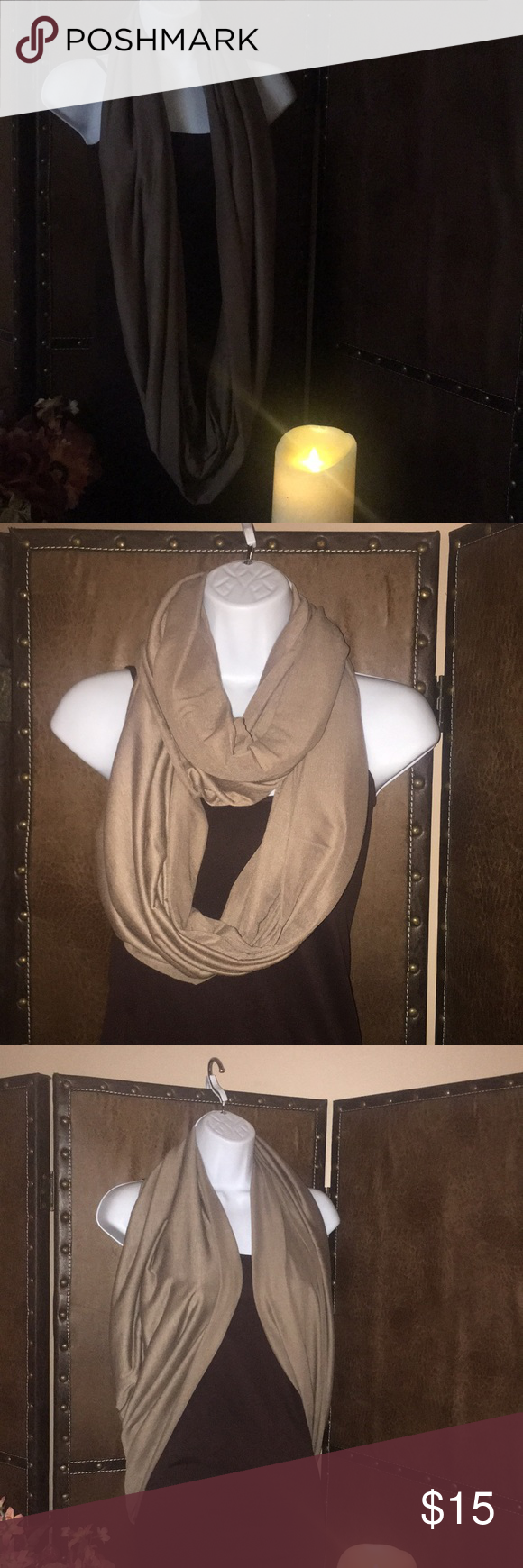 Soft brown t-shirt jersey material infinity scarf Infinity scarf, soft brown Jersey T-shirt material, can wear an infinite number of ways! Mi Amore Accessories Scarves & Wraps