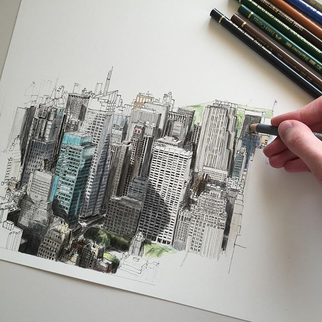 #art #drawing #pen #sketchy#illustration #architecture #buildings #cityscape #city #newyork #nyc #skyscraper #fabercastell by phoebeatkey