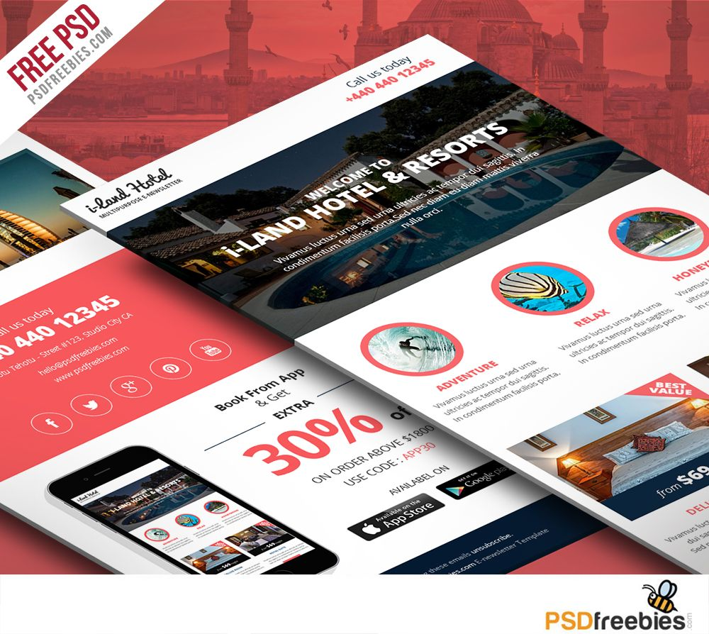 Hotel Deals And Offers Newsletter Template Free Psd  Newsletter