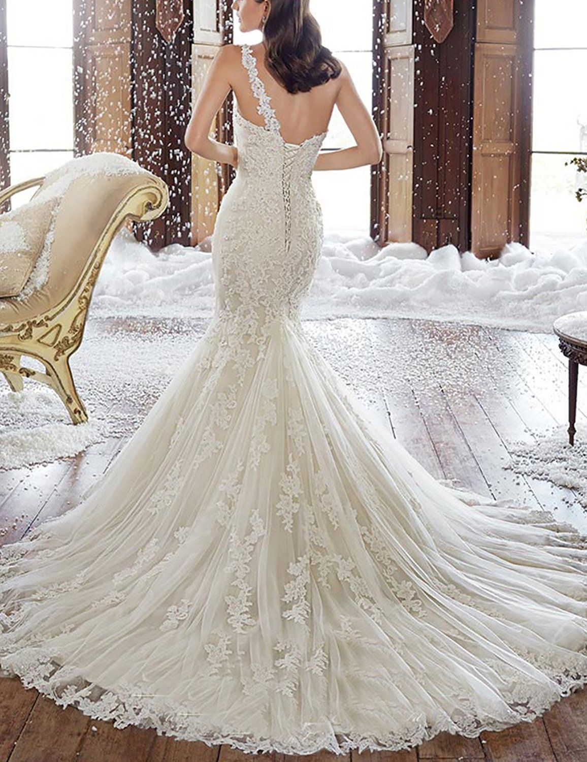 Lace Wedding Dress 2018 - OYISHA Off Shoulder Lace Mermaid Wedding ...