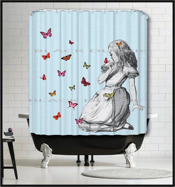 Alice In Wonderland Shower Curtain Alice With Butterflies Shower Curtain Blue Curta Butterfly Shower Curtain Blue Curtains Alice In Wonderland Room