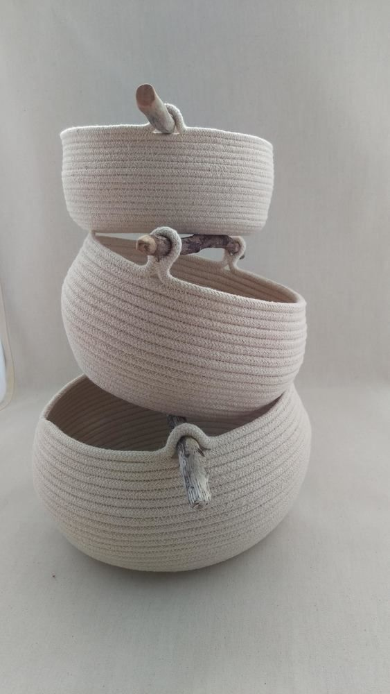 Newtown Bowl, handmade coiled cotton storage bowl with driftwood handle £25.00