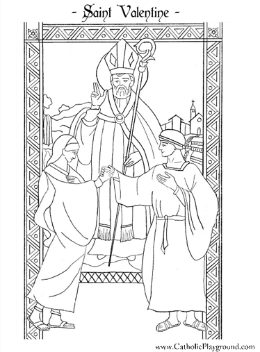 saint valentine catholic coloring page for children ii feast day is february 14th - St Patrick Coloring Page Catholic