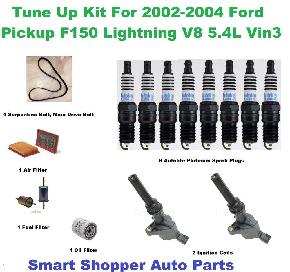 Tune Up Kit For 02 04 Ford F150 5 4l Serpentine Belt Spark Plug