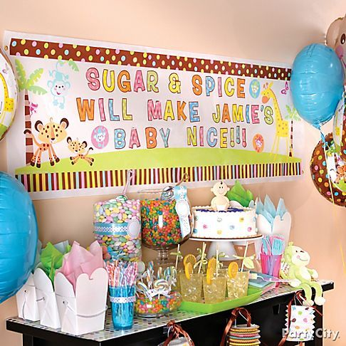Baby Shower Decorating Ideas - Banner by the kitchen with balloons ...