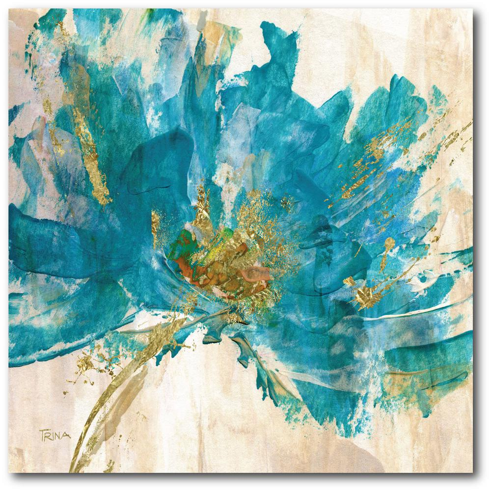 courtside market contemporary teal flower canvas wall art on canvas wall art id=71662