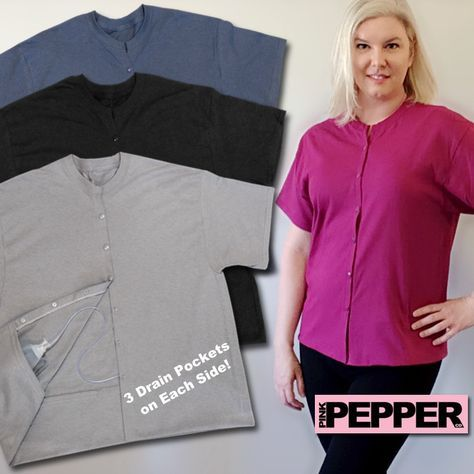 Surgery Mastectomy Shirt With Drain Holder Pockets Mommy Makeover