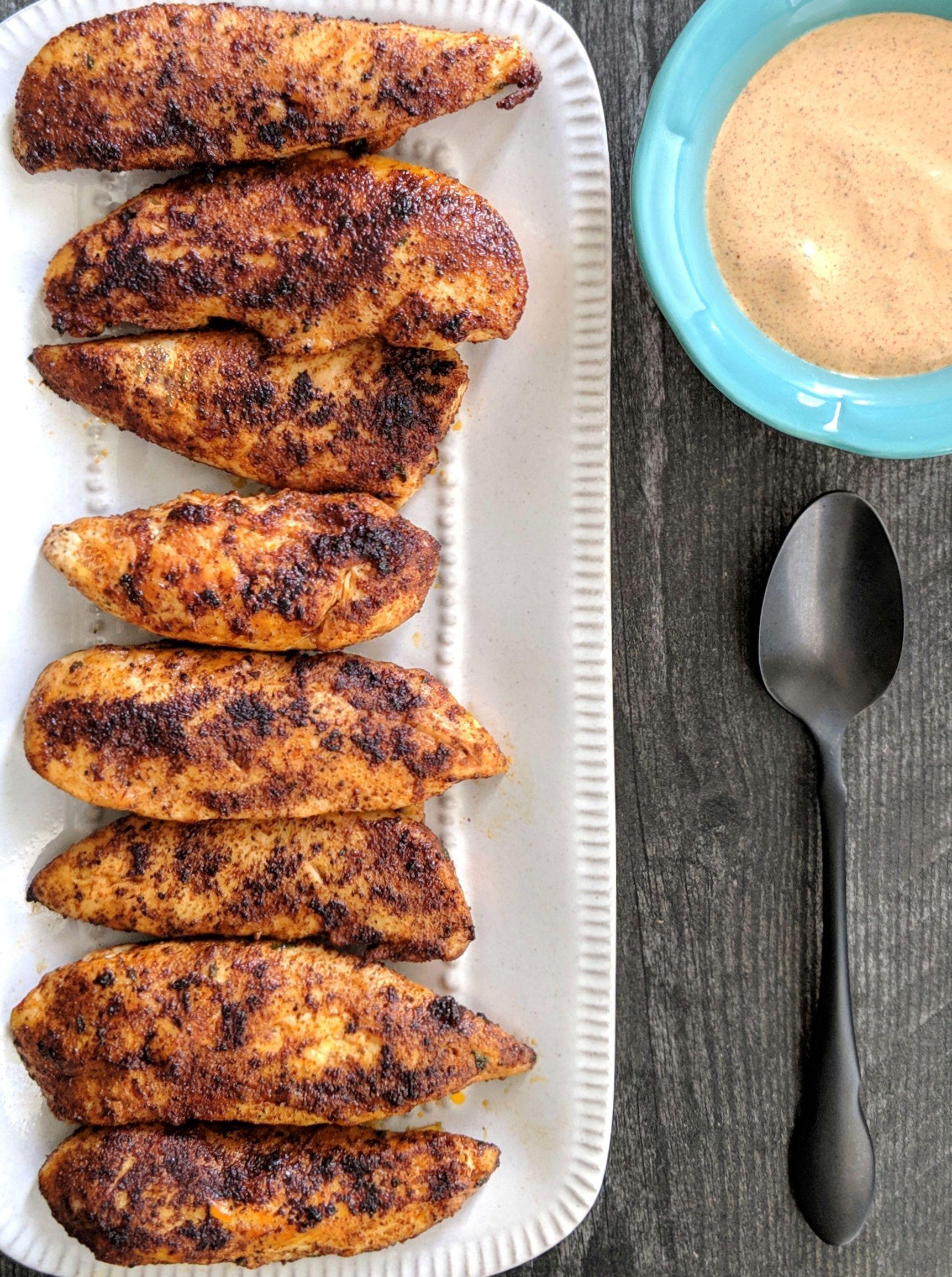 Keto Blackened Chicken Tenders & Spicy Ranch Sauce #blackenedchicken