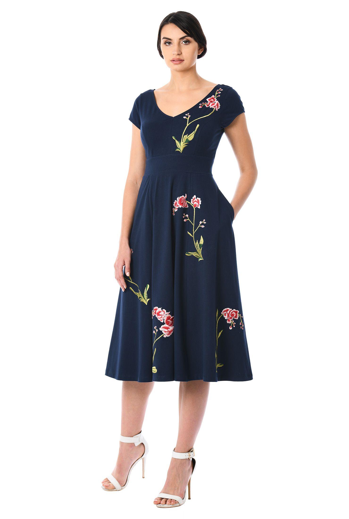cap sleeve dresses, cotton/spandex Dresses, day dresses, Deep Navy ...