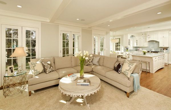 Cream Sofa Living Room Designs Fascinating Open Floor Plan For A Ranch Style Home  I Like This The French Design Ideas