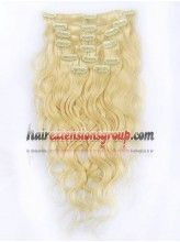 15Inch 9Pcs #22/613 Light ash brown/Platinum blonde Wave Clip In Human Hair Extensions
