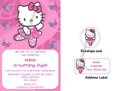 Hello kitty ballerina birthday invitations waddress labels and hello kitty ballerina custom birthday invitation set you are purchasing personalized birthday invitations with white envelopes address labels and envelope filmwisefo Image collections