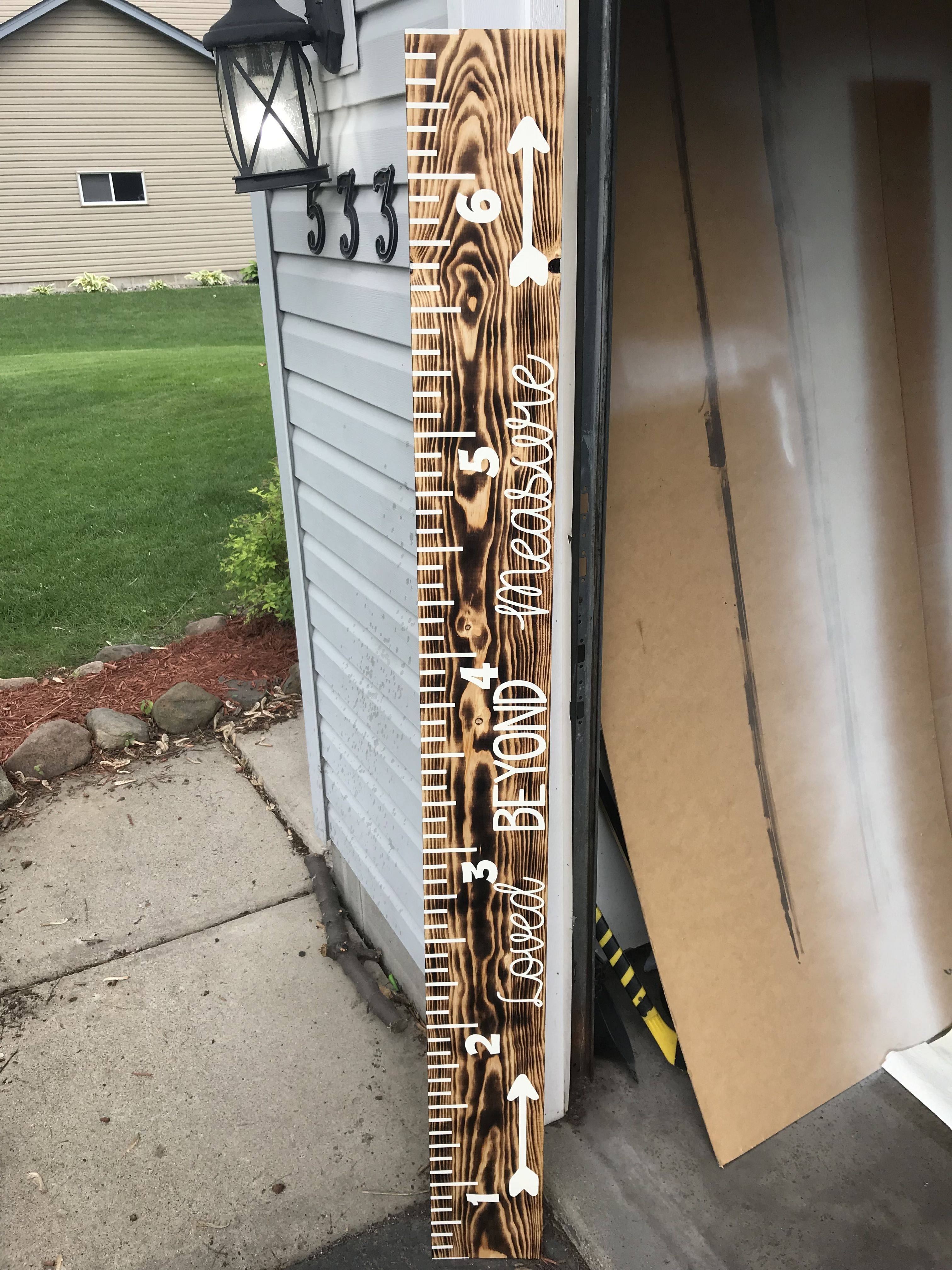Diy growth chat ruler torched board paint created