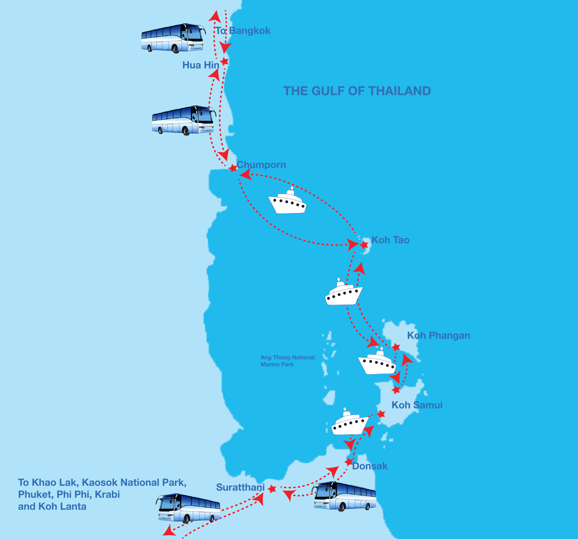 Map of Phi Phi Ferry destination routs.