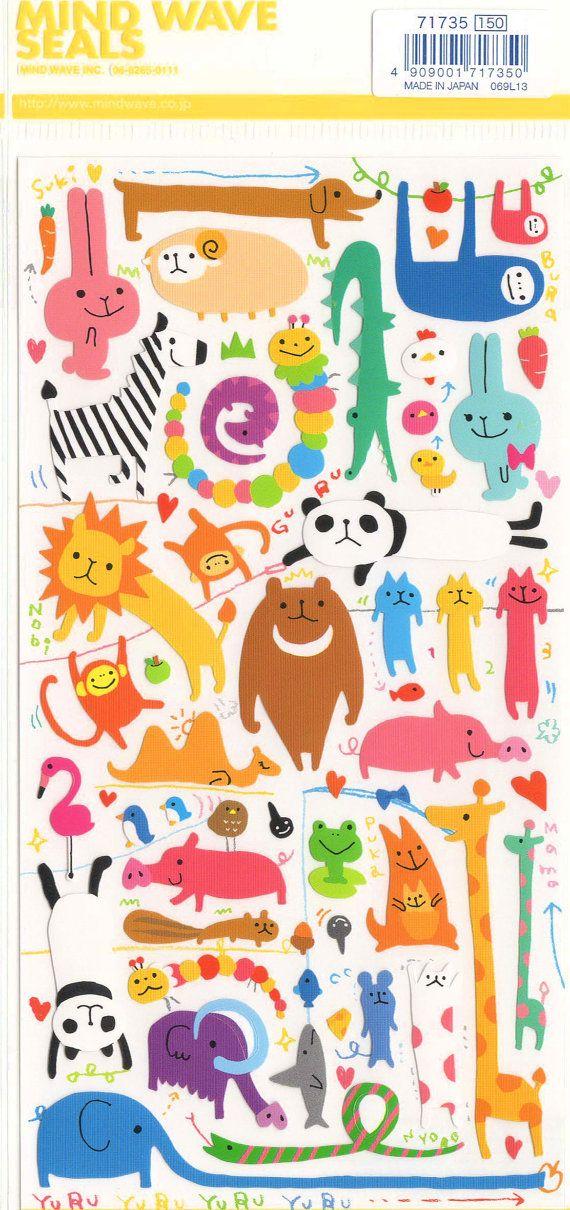 Japanese Novelty Sticker Sheet by Mind Wave Seals    Yuru Animal Series Stickers