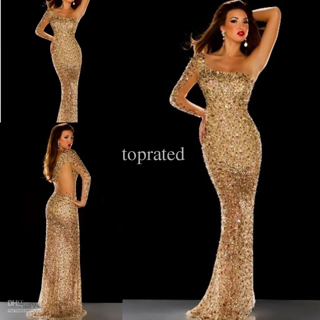 Wholesale new collection gold prom gown evening dresses with