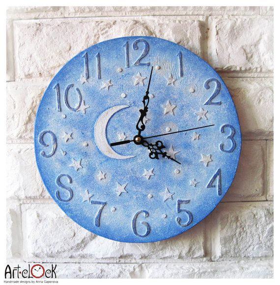 The Moon And Stars Blue Wall Clock Home Decor For Children Baby