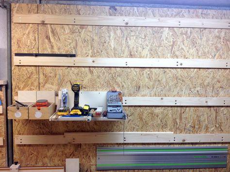 Winkelleisten Fur Die Werkstattwand Werkstattwand Werkzeugwand Holz Garagenbau