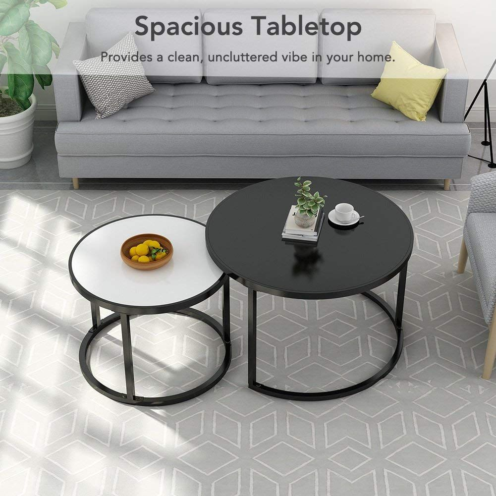 Nesting Coffee Table Round Metal Base For Living Room White And Black Coffee Table Nesting Coffee Tables Home Coffee Tables [ 1001 x 1001 Pixel ]