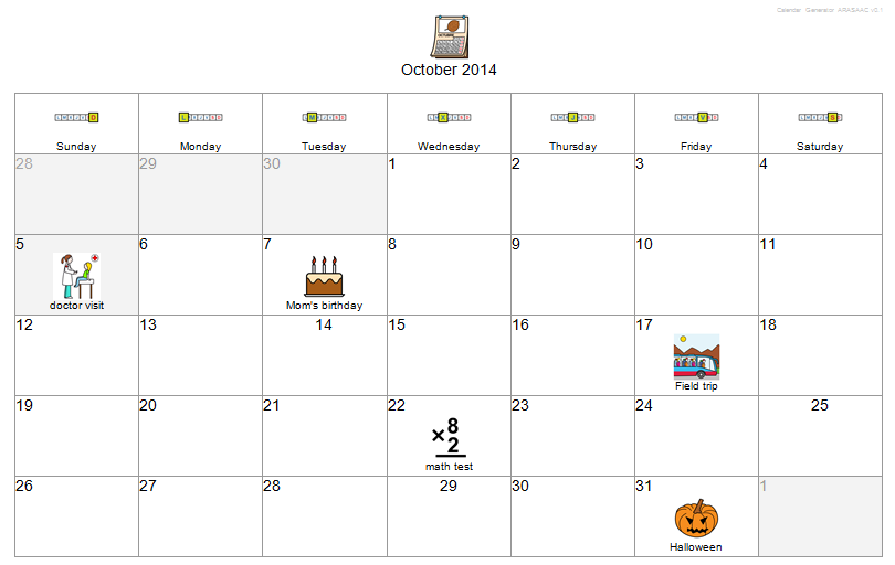 example of a visual calendar made with arasaac s free online