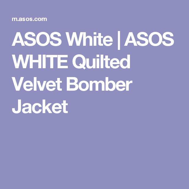 Asos White Asos White Quilted Velvet Bomber Jacket