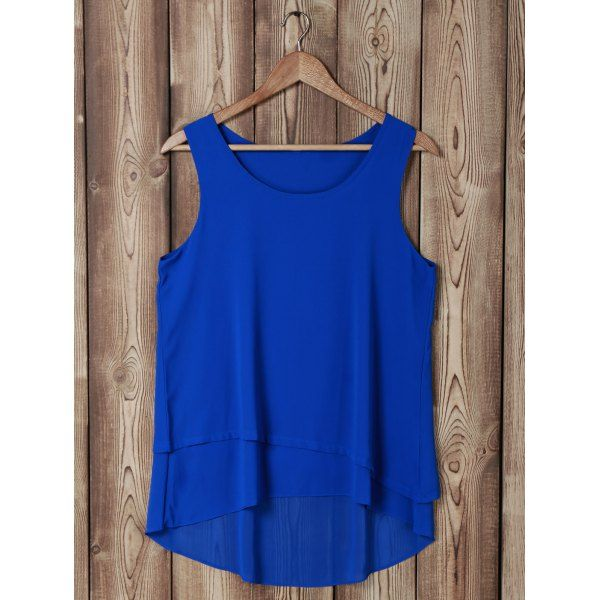 Stylish Scoop Neck Sleeveless Faux Twinset Design Blouse For Women - SAPPHIRE BLUE XL