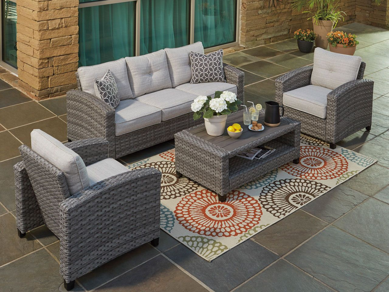Salerno Aluminum Outdoor Wicker 4 Pc Sofa Group Fortunoff Backyard Store Teak Outdoor Weathered Teak Outdoor Wicker