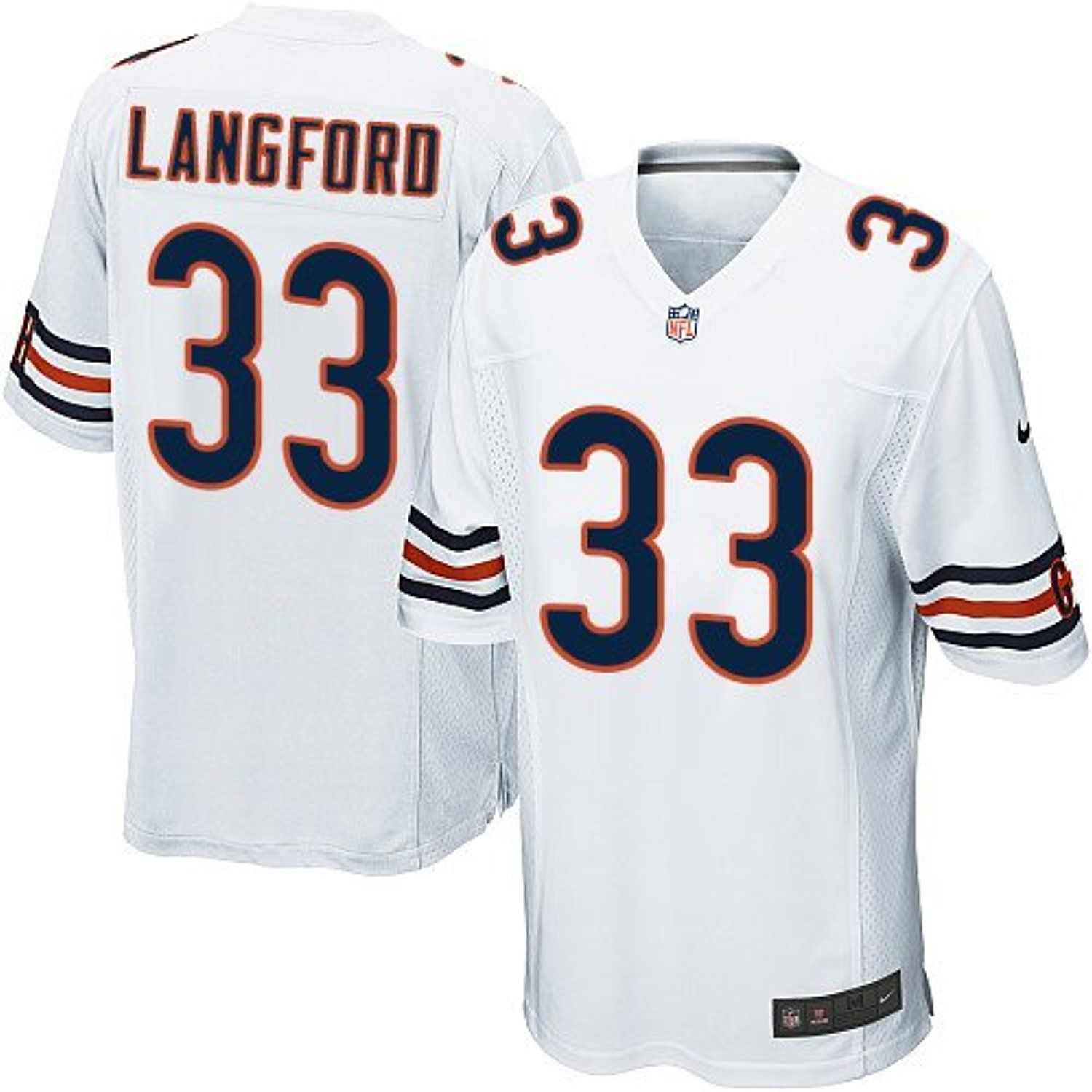 Mens Chicago 33 Jeremy Langford White Football Game Jersey ...