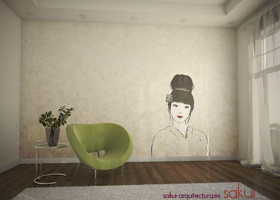 Geisha wall vinyl decal by http://www.sakui-arquitectura.es