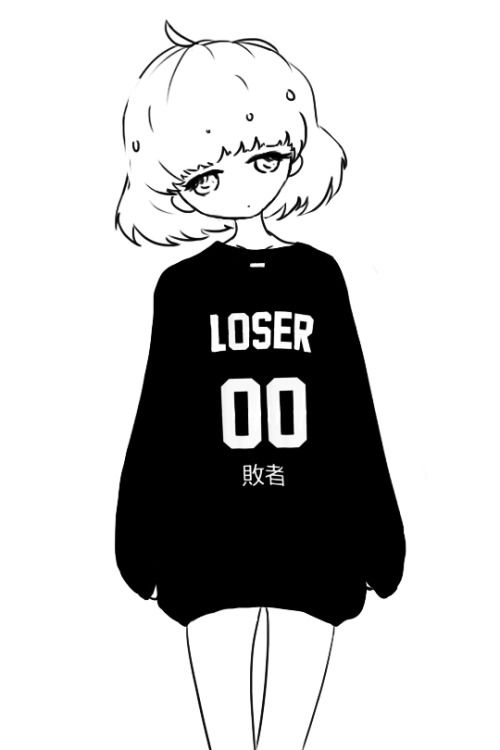 cute black and white kawaii my art monochrome anime girl anime art
