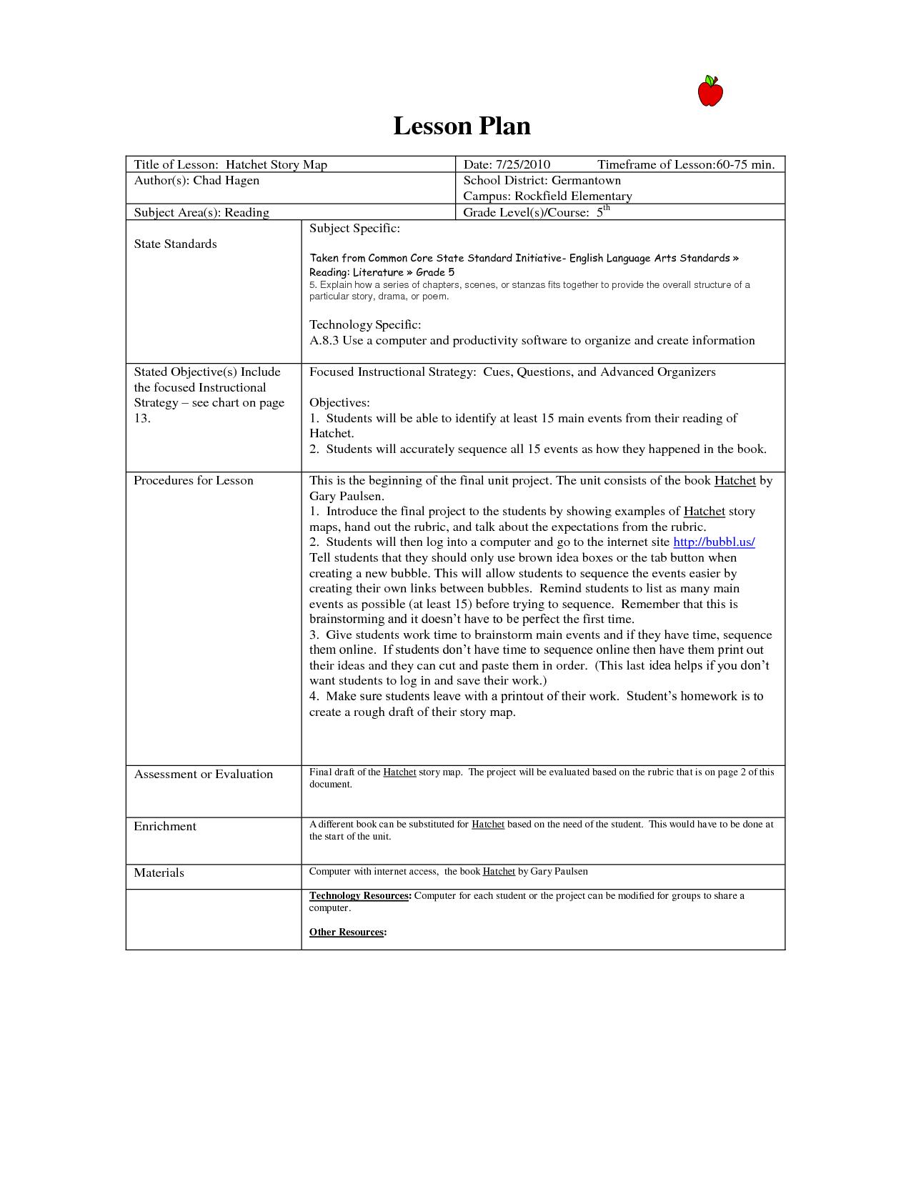 common core observation lesson plan template pdf Google