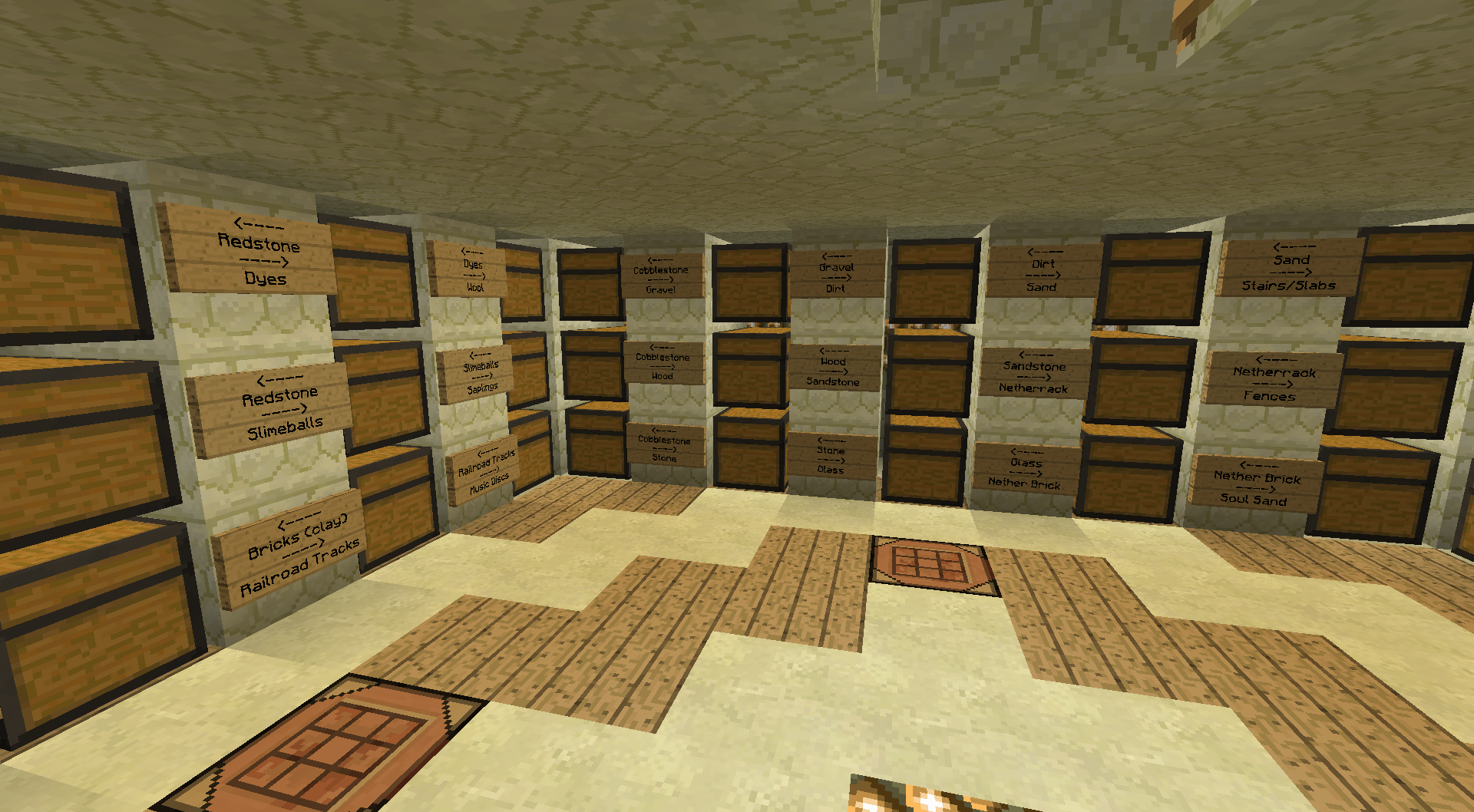 Storage room insight ideas and examples survival mode for Minecraft lounge ideas